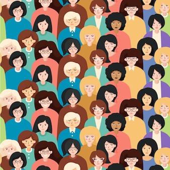 Patrón del día de las mujeres con tema de caras de mujeres