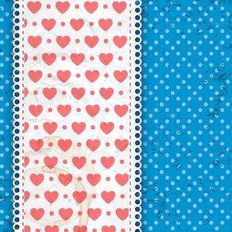 Patrón de día de san valentín azul sobre puntos blancos y banda con tela y volantes ilustración vectorial