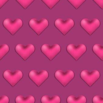 Patrón de día de san valentín de color rosa oscuro con corazones 3d