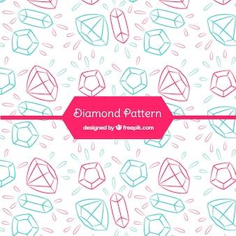 Patrón de diamantes de dibujados a mano