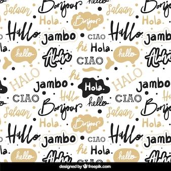 Patrón dibujado a mano con palabra hola en distintos idiomas