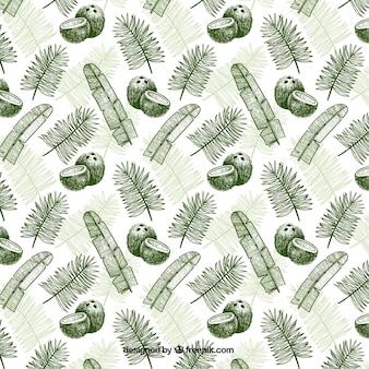 Patrón dibujado a mano con cocos y hojas de palma