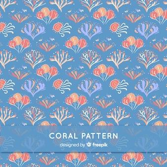 Patrón dibujado a mano coral bajo el agua