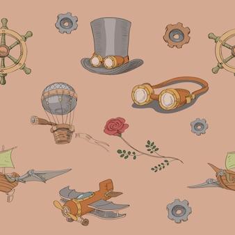 Patrón dibujado a mano sin costura steampunk con sombrero de copa steampunk y gafas de latón