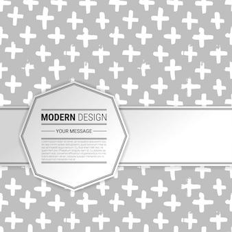 Patrón dibujado a mano con cruces y espacio para texto