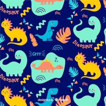 Patrón dibujado a mano dinosaurios coloridos