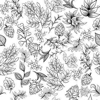 Patrón dibujado mano con elementos abstractos de la naturaleza escandinava. conjunto de vectores de plantas y animales.