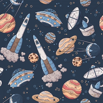 Patron dibujado a mano de elementos espaciales