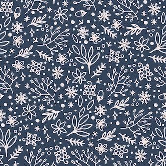 Patrón dibujado a mano floral de vacaciones de navidad abstracto