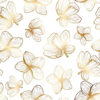 Patrón dibujado a mano de flores tropicales de oro