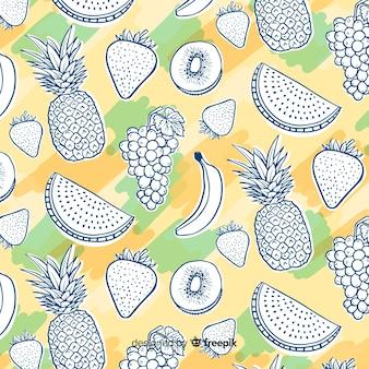 Patrón dibujado a mano frutas tropicales