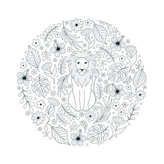 Patrón dibujado a mano con león y flores tropicales sobre fondo blanco