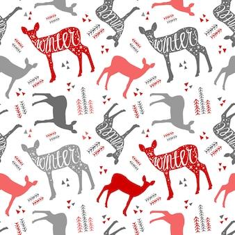 Patrón dibujado a mano letras con ciervos de invierno. ciervos de navidad hermoso diseño para el po.