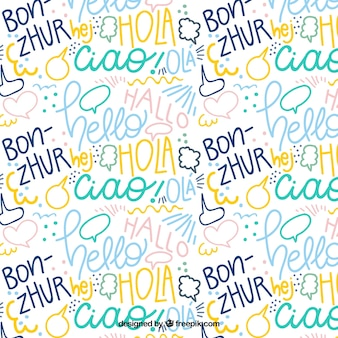 Patrón dibujado a mano con la palabra hola en distintos idiomas
