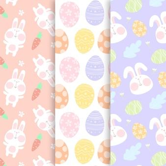Patrón dibujado a mano de pascua con huevos y conejito