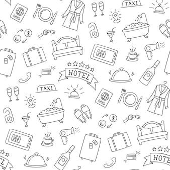 Patrón dibujado a mano de servicios de hotel. cama, baño, caja fuerte, desayuno, albornoz y otros objetos.