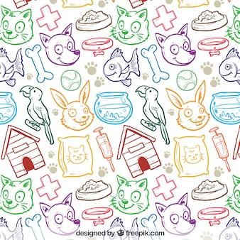 Patrón dibujado a mano de tienda de mascotas