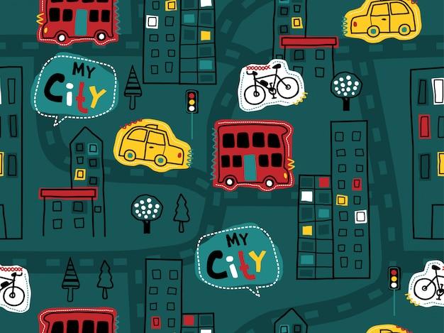 Sin patrón de dibujado a mano con vehículos, edificios, carreteras
