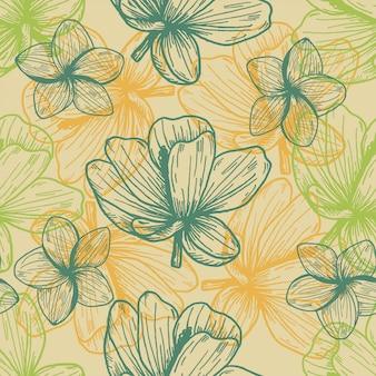 Patrón dibujado mano vintage flores tropicales