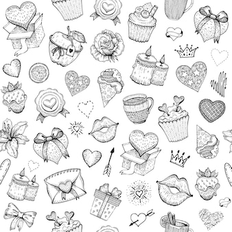 Patrón de dibujo de amor de san valentín.
