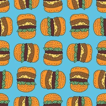 Patrón de dibujo de hamburguesa. fondo grande del estilo de la historieta de la hamburguesa. adorno de comida rápida