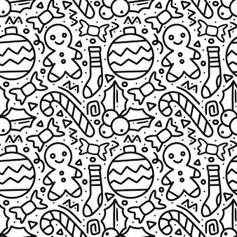 Patrón de dibujo a mano de día de navidad con iconos y elementos de diseño