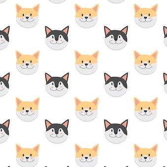 Patrón de dibujos animados de cara de gatos lindos