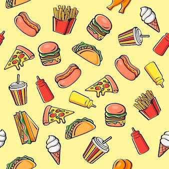 Patrón de dibujos animados de comida rápida inconsútil