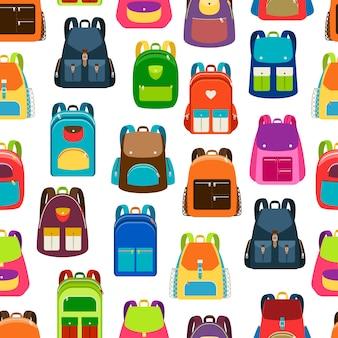 Patrón de dibujos animados de la escuela con mochilas y mochilas de colores planos