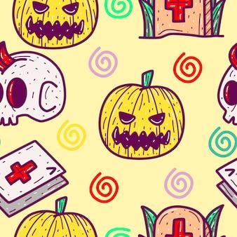 Patrón de dibujos animados de halloween en dibujado a mano