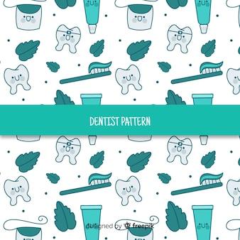 Patrón dibujos animados herramientas cuidado dental