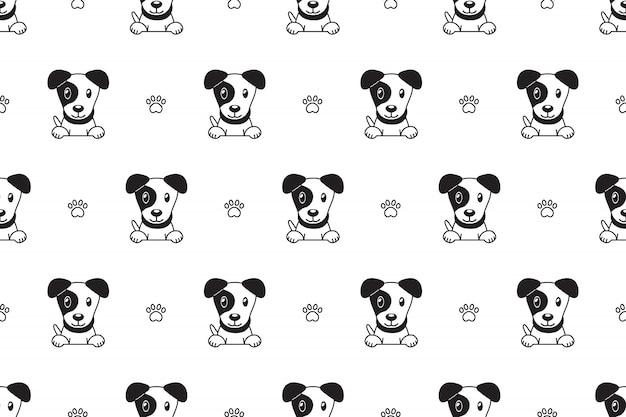 Patrón de dibujos animados jack russell terrier perro de patrones sin fisuras