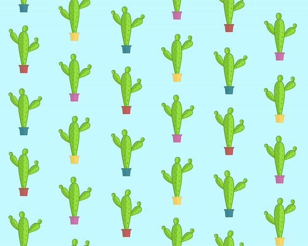 Patrón de dibujos animados lindo con cactus coloridos