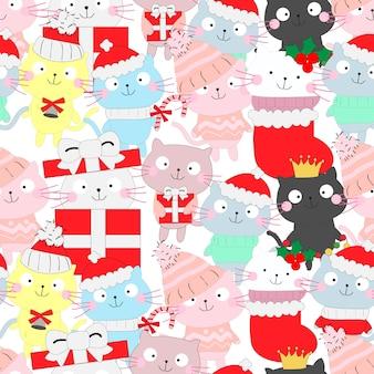 Patrón de dibujos animados lindo gato gracioso