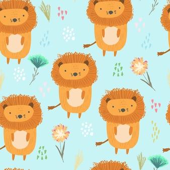 Patrón de dibujos animados lindo con leones, puntos y hierbas