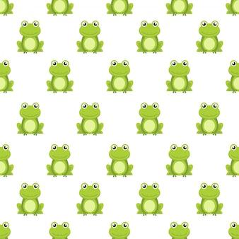Patrón de dibujos animados lindo rana verde de patrones sin fisuras