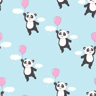 Patrón de dibujos animados panda piña sin costura patrón