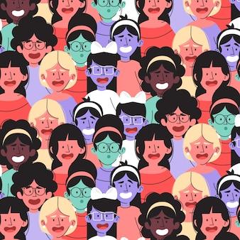 Patrón diferente del día de la mujer con caras de mujeres