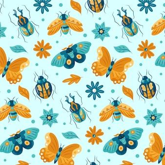 Patrón con diferentes insectos y flores.