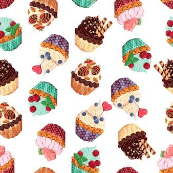Patrón de diferentes tipos de cestas dulces.