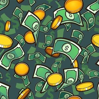 Patrón de dinero sin fisuras con monedas de oro y billetes