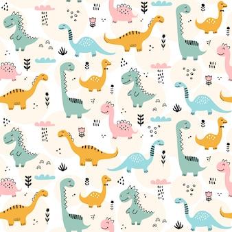 Patrón de dinosaurio lindo - diseño de patrones sin fisuras de dinosaurio infantil dibujado a mano