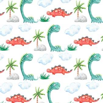 Patrón de dinosaurios acuarela