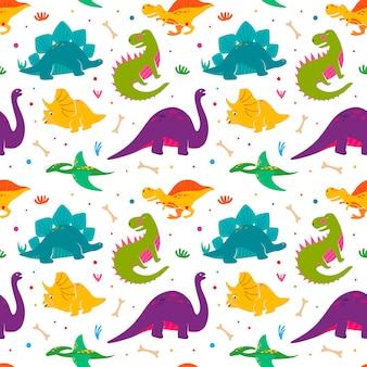 Patrón de dinosaurios divertidos seamles.