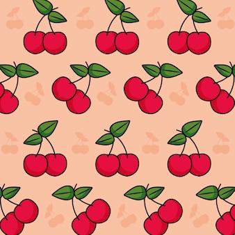 Patrón con diseño colorido de cherrys