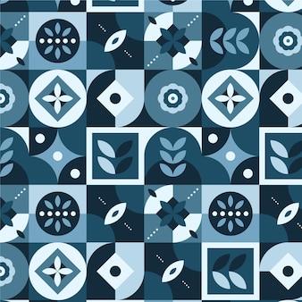 Patrón de diseño escandinavo azul plano