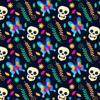 Patrón de diseño plano dia de muertos