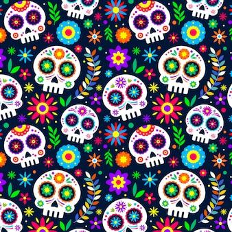 Patrón de diseño plano día de muertos