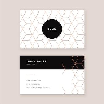 Patrón de diseño de tarjeta de visita de oro de patrón de cuadrícula de cubo abstracto