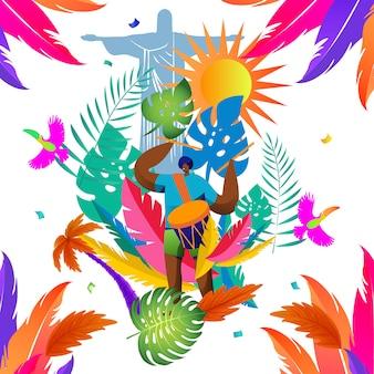 Patrón de diseño tropical con elementos carnaval de brasil.